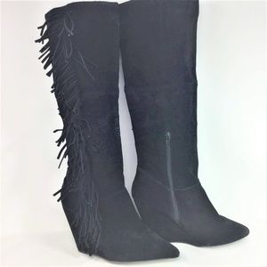 Betsy Johnson Zohara Boots Tall Suede Wedge 8.5M